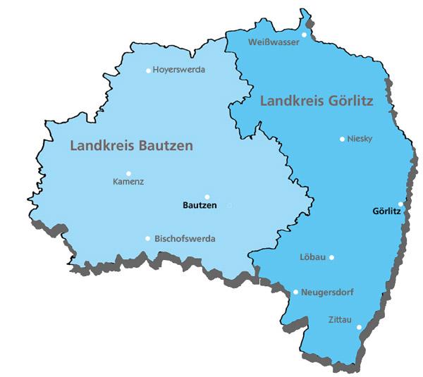 Karte der Region Ostsachsen